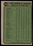 1974 Topps #476   -  Cleon Jones / Ray Fosse / Jerry Grote 1973 World Series - Game #5 Back Thumbnail