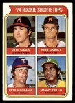 1974 Topps #597   -  Manny Trillo / Pete Mackanin / Dave Chalk / John Gamble Rookie Shortstops Front Thumbnail