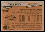 1981 Topps #434  Tim Fox  Back Thumbnail