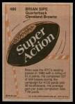 1981 Topps #486  Brian Sipe  Back Thumbnail