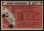1980 Topps #372  Andy Johnson  Back Thumbnail