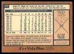 1978 O-Pee-Chee #177  Vida Blue  Back Thumbnail