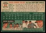 1954 Topps #83  Joe Collins  Back Thumbnail