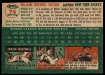 1954 Topps #74  Bill Taylor  Back Thumbnail