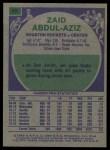 1975 Topps #49  Zaid Abdul Aziz  Back Thumbnail