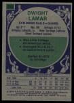 1975 Topps #256  Dwight Lamar  Back Thumbnail