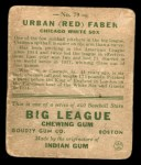 1933 Goudey #79  Red Faber  Back Thumbnail