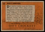 1956 Topps Davy Crockett #50   Davy Arrives  Back Thumbnail