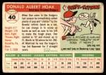 1955 Topps #40  Don Hoak  Back Thumbnail