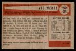 1954 Bowman #21  Vic Wertz  Back Thumbnail
