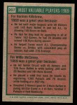 1975 Topps Mini #207   -  Harmon Killebrew / Willie McCovey 1969 MVPs Back Thumbnail