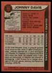 1979 Topps #92  Johnny Davis  Back Thumbnail