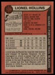 1979 Topps #129  Lionel Hollins  Back Thumbnail