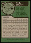 1977 Topps #47  ML Carr  Back Thumbnail