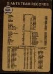 1973 Topps #434   Giants Team Back Thumbnail
