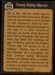 1973 Topps #343   -  Bobby Murcer Boyhood Photo Back Thumbnail