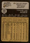 1973 Topps #420  Tommie Agee  Back Thumbnail