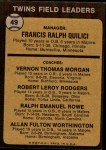 1973 Topps #49 BRN  -  Frank Quilici / Vern Morgan / Bob Rodgers / Ralph Rowe / Al Worthington Twins Leaders Back Thumbnail