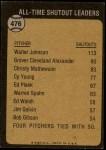 1973 Topps #476   -  Walter Johnson All-Time Shutout Leader Back Thumbnail