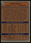 1974 Topps #76  Red Kelly  Back Thumbnail