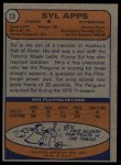 1974 Topps #13  Syl Apps  Back Thumbnail