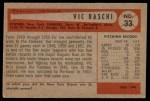 1954 Bowman #33 xTR Vic Raschi  Back Thumbnail