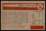 1954 Bowman #156 2B Rocky Bridges  Back Thumbnail