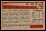 1954 Bowman #124 ERR Gus Bell  Back Thumbnail