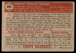 1952 Topps #289  Tommy Holmes  Back Thumbnail