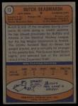 1974 Topps #73  Butch Deadmarsh  Back Thumbnail