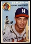 1954 Topps #30 WHT Eddie Mathews  Front Thumbnail