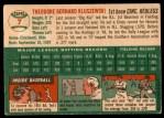 1954 Topps #7 WHT Ted Kluszewski  Back Thumbnail