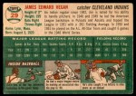 1954 Topps #29 WHT Jim Hegan  Back Thumbnail