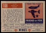 1952 Topps Wings #108   VG-90 Back Thumbnail