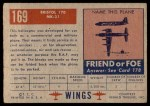 1952 Topps Wings #169   Bristol 170 MK-31 Back Thumbnail