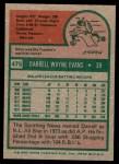 1975 Topps #475  Darrell Evans  Back Thumbnail