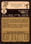 1973 O-Pee-Chee #31  Buddy Bell  Back Thumbnail
