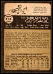 1973 O-Pee-Chee #174  Goose Gossage  Back Thumbnail