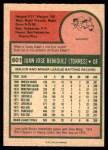 1975 O-Pee-Chee #601  Juan Beniquez  Back Thumbnail