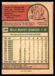 1975 O-Pee-Chee #186  Willie Crawford  Back Thumbnail