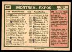 1975 O-Pee-Chee #101   -  Gene Mauch Expos Team Checklist Back Thumbnail