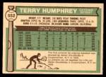 1976 O-Pee-Chee #552  Terry Humphrey  Back Thumbnail