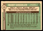 1976 O-Pee-Chee #220  Manny Sanguillen  Back Thumbnail
