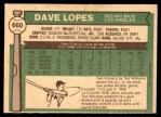 1976 O-Pee-Chee #660  Davey Lopes  Back Thumbnail
