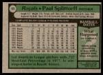1979 Topps #183  Paul Splittorff  Back Thumbnail