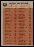 1962 Topps #52   -  Roberto Clemente / Vada Pinson / Ken Boyer / Wally Moon NL Batting Leaders Back Thumbnail