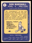 1969 Topps #39  Don Marshall  Back Thumbnail