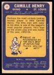 1969 Topps #17  Camille Henry  Back Thumbnail