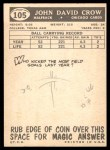 1959 Topps #105  John David Crow  Back Thumbnail