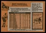1975 Topps #72  Bert Marshall   Back Thumbnail